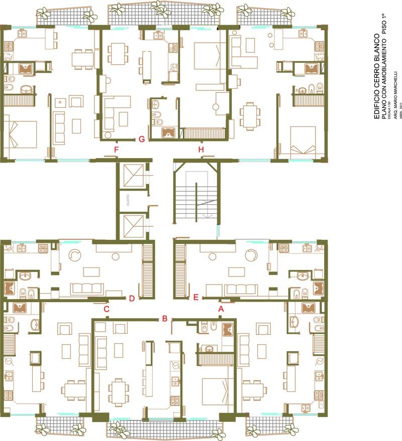 Planos de edificios for Edificio de departamentos planos